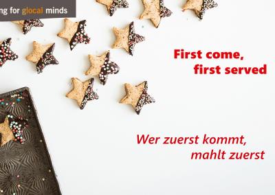 SPIDI Adventkalender First come, first served - Wer zuerst kommt, mahlt zuerst