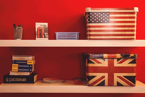 english + american flag