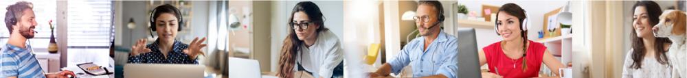 Personen lernen im Home Office Online Sprachen
