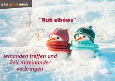 """SPIDI Adventkalender Tür 11: """"Rub elbows"""" (jemanden treffen und Zeit miteinander verbringen)"""