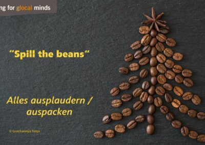 "SPIDI Adventkalender Tür 3: ""to spill the beans"" (alles ausplaudern / auspacken)"