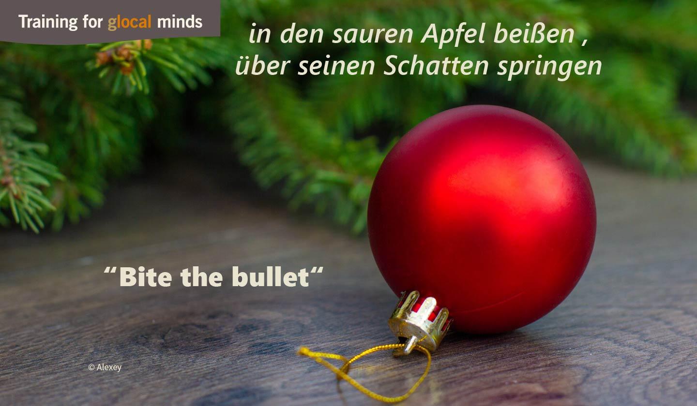 """SPIDI Adventkalender Tür 4: """"Bite the bullet"""" ( in den sauren Apfel beißen , über seinen Schatten springen)"""